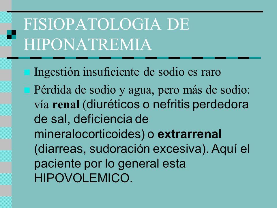FISIOPATOLOGIA DE HIPONATREMIA Ingestión insuficiente de sodio es raro Pérdida de sodio y agua, pero más de sodio: vía renal ( diuréticos o nefritis perdedora de sal, deficiencia de mineralocorticoides) o extrarrenal (diarreas, sudoración excesiva).