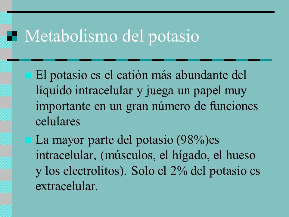 Metabolismo del potasio El potasio es el catión más abundante del líquido intracelular y juega un papel muy importante en un gran número de funciones celulares La mayor parte del potasio (98%)es intracelular, (músculos, el hígado, el hueso y los electrolitos).