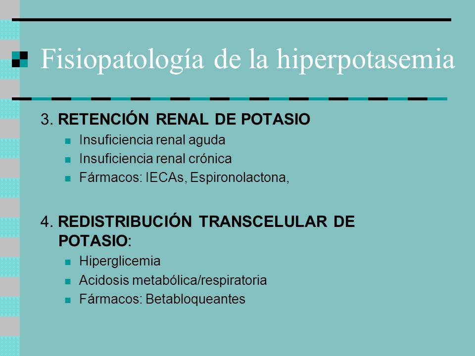 Fisiopatología de la hiperpotasemia 3. RETENCIÓN RENAL DE POTASIO Insuficiencia renal aguda Insuficiencia renal crónica Fármacos: IECAs, Espironolacto