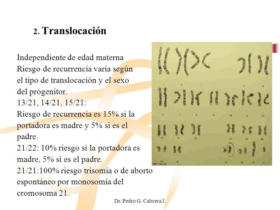 Dr. Pedro G. Cabrera J. 2. Translocación Independiente de edad materna Riesgo de recurrencia varía según el tipo de translocación y el sexo del progen