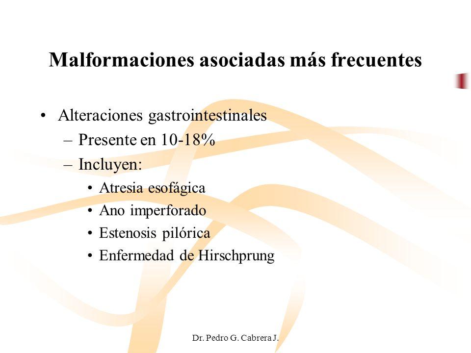 Dr. Pedro G. Cabrera J. Malformaciones asociadas más frecuentes Alteraciones gastrointestinales –Presente en 10-18% –Incluyen: Atresia esofágica Ano i