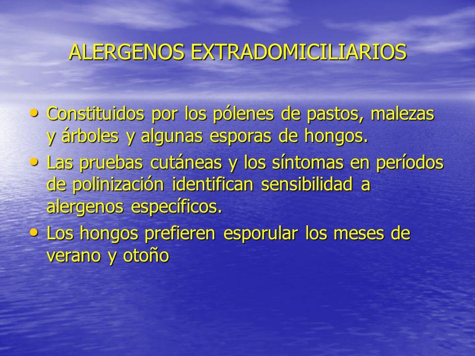 ALERGENOS EXTRADOMICILIARIOS Constituidos por los pólenes de pastos, malezas y árboles y algunas esporas de hongos. Constituidos por los pólenes de pa
