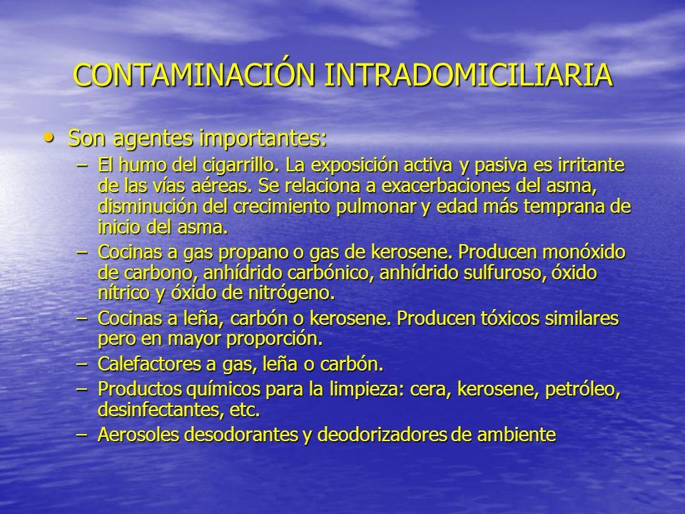 CONTAMINACIÓN INTRADOMICILIARIA Son agentes importantes: Son agentes importantes: –El humo del cigarrillo. La exposición activa y pasiva es irritante