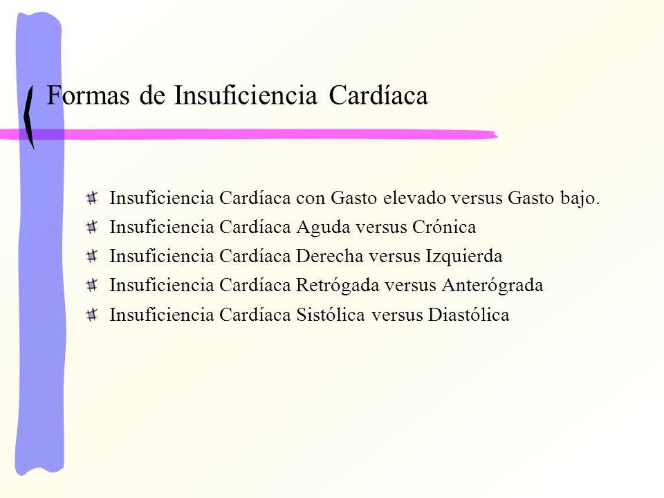 Formas de Insuficiencia Cardíaca Insuficiencia Cardíaca con Gasto elevado versus Gasto bajo. Insuficiencia Cardíaca Aguda versus Crónica Insuficiencia