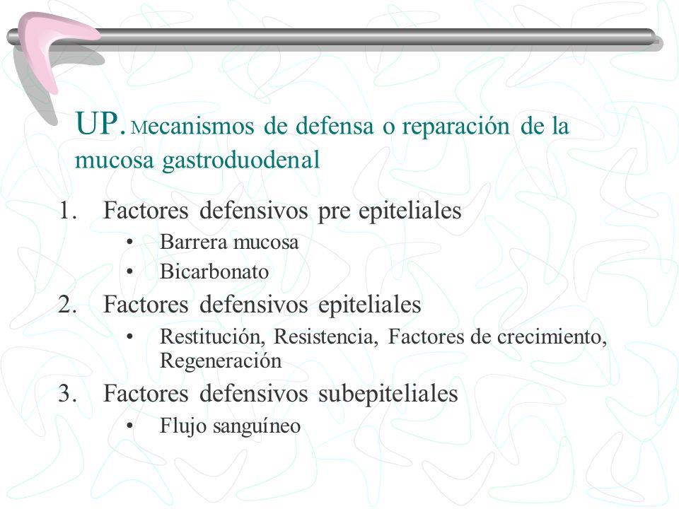 UP. M ecanismos de defensa o reparación de la mucosa gastroduodenal 1.Factores defensivos pre epiteliales Barrera mucosa Bicarbonato 2.Factores defens