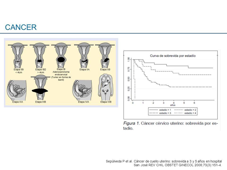 Sepúlveda P et al. Cáncer de cuello uterino: sobrevida a 3 y 5 años en hospital San José REV CHIL OBSTET GINECOL 2008;73(3):151-4.