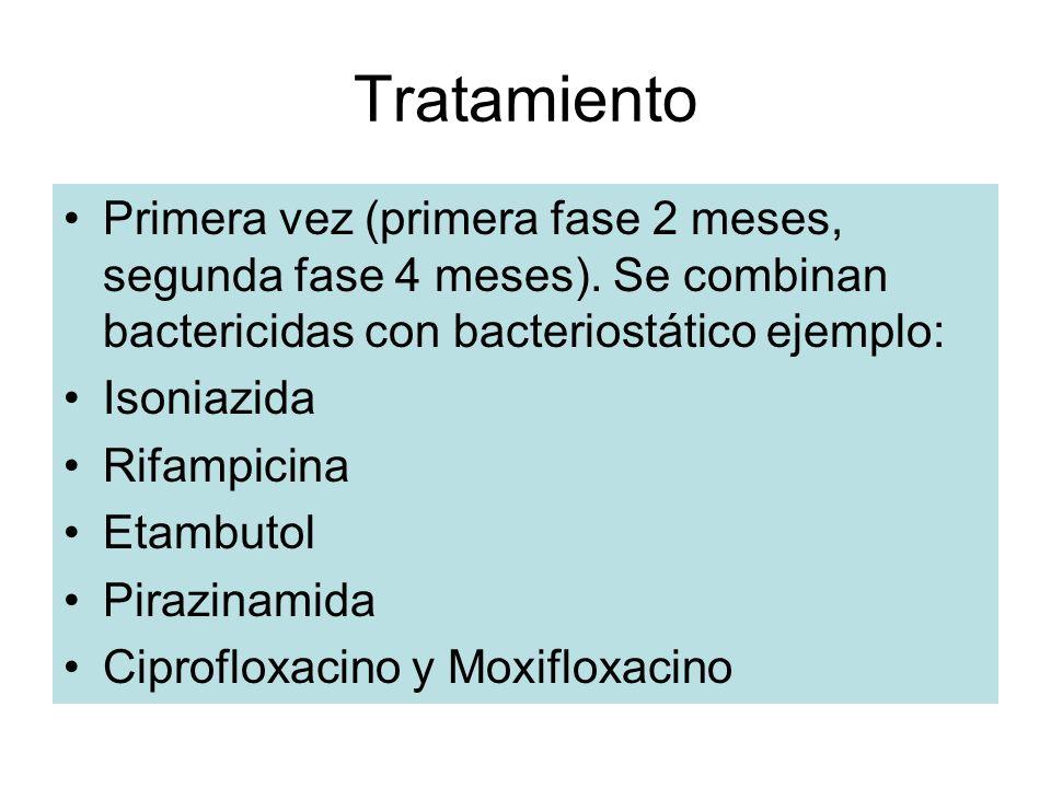 Tratamiento Primera vez (primera fase 2 meses, segunda fase 4 meses). Se combinan bactericidas con bacteriostático ejemplo: Isoniazida Rifampicina Eta