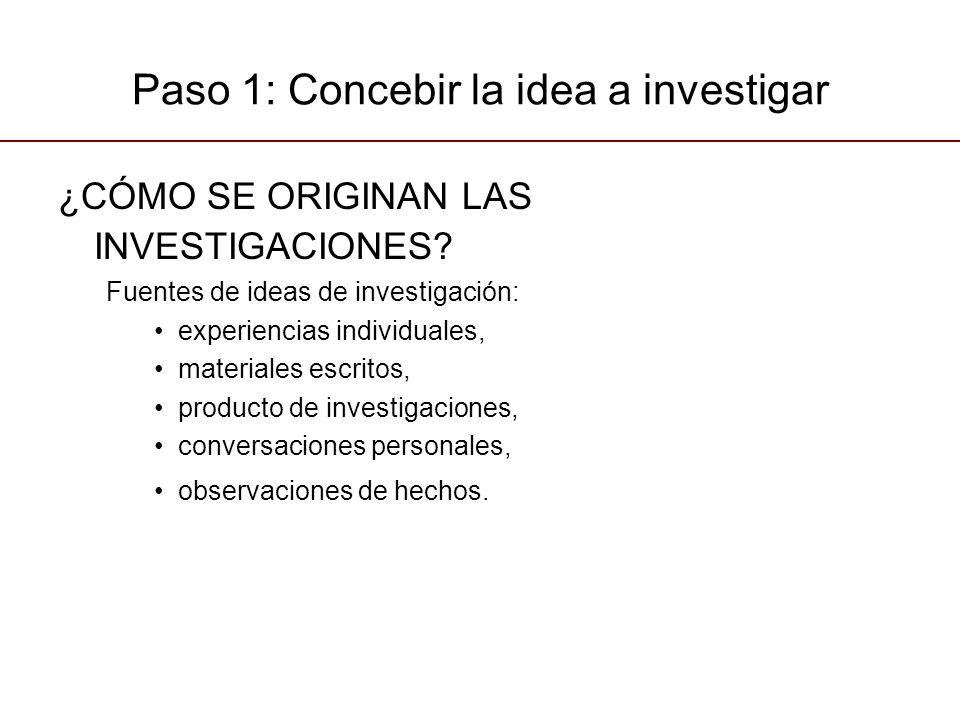 Paso 1: Concebir la idea a investigar ¿CÓMO SE ORIGINAN LAS INVESTIGACIONES? Fuentes de ideas de investigación: experiencias individuales, materiales