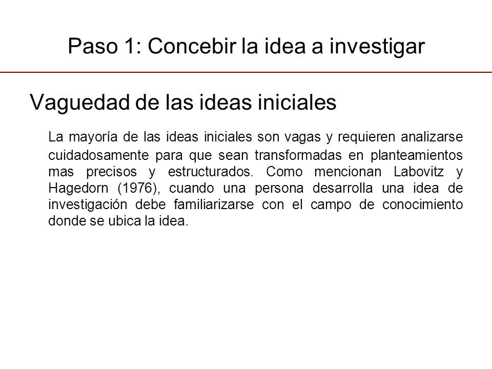 Paso 1: Concebir la idea a investigar Vaguedad de las ideas iniciales La mayoría de las ideas iniciales son vagas y requieren analizarse cuidadosamente para que sean transformadas en planteamientos mas precisos y estructurados.