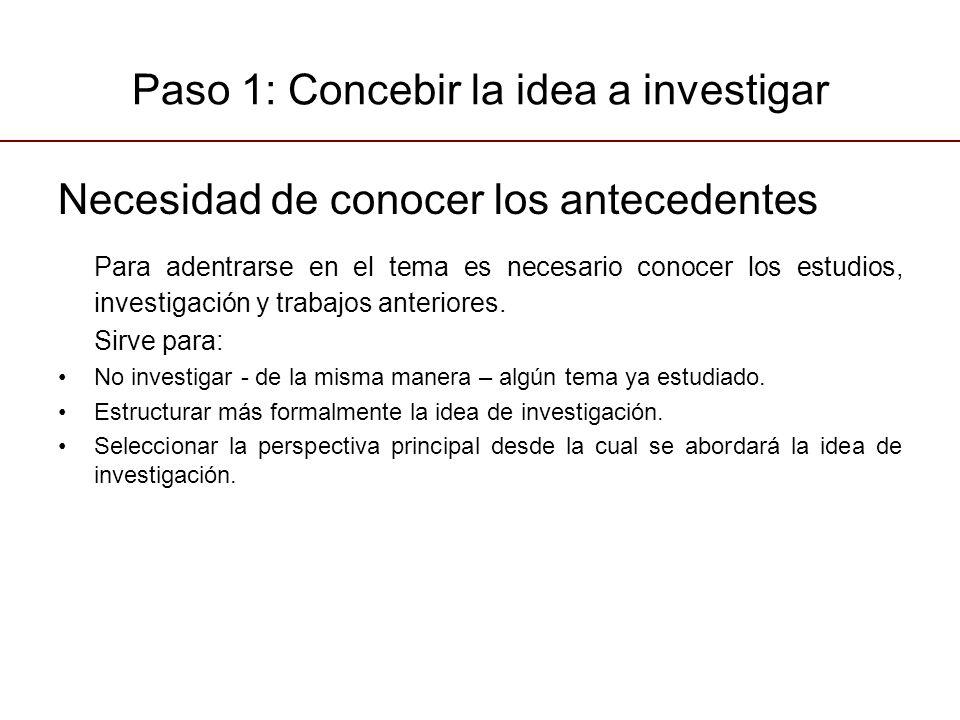Paso 1: Concebir la idea a investigar Necesidad de conocer los antecedentes Para adentrarse en el tema es necesario conocer los estudios, investigación y trabajos anteriores.