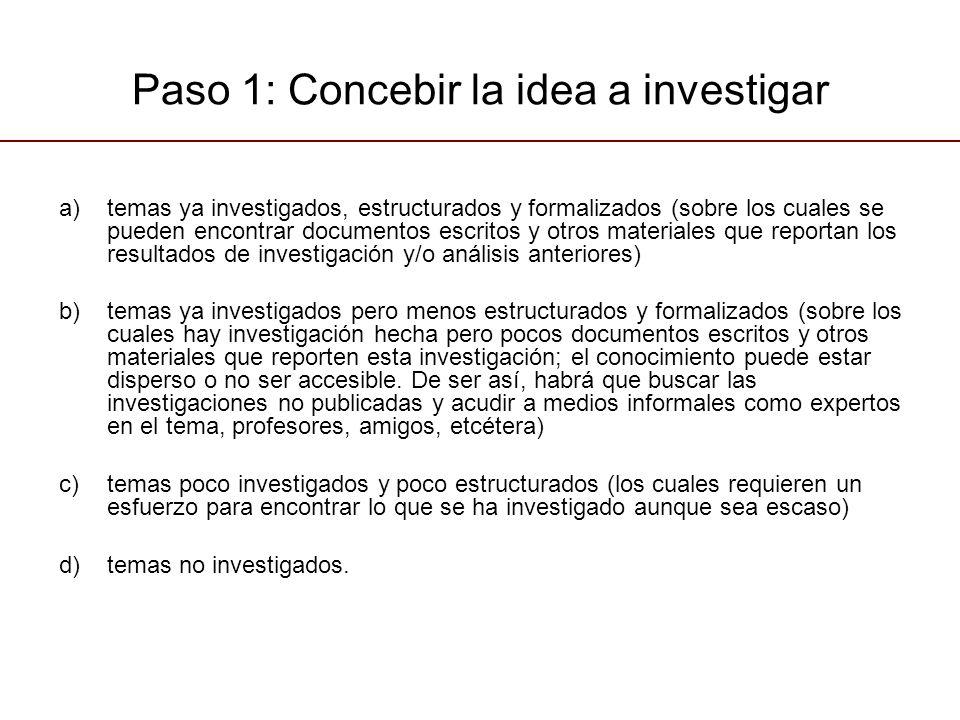 Paso 1: Concebir la idea a investigar a)temas ya investigados, estructurados y formalizados (sobre los cuales se pueden encontrar documentos escritos