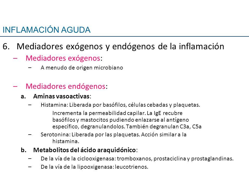 6.Mediadores exógenos y endógenos de la inflamación –Mediadores exógenos: –A menudo de origen microbiano –Mediadores endógenos: a.Aminas vasoactivas: –Histamina: Liberada por basófilos, células cebadas y plaquetas.