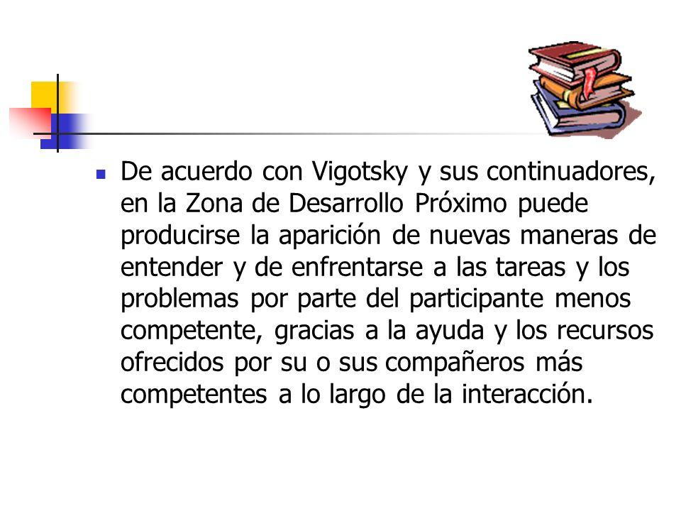 Podemos identificar este proceso con lo que VigotsKy ha denominado Zona de Desarrollo Próximo, la cual se define como la distancia entre el nivel de r