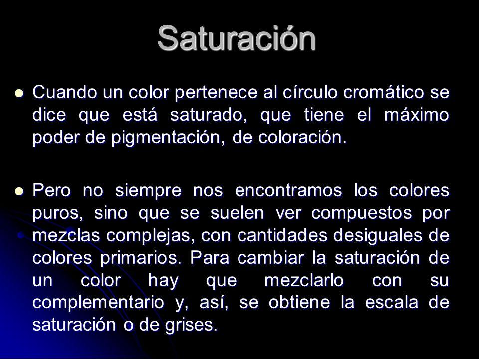 Saturación Cuando un color pertenece al círculo cromático se dice que está saturado, que tiene el máximo poder de pigmentación, de coloración. Cuando