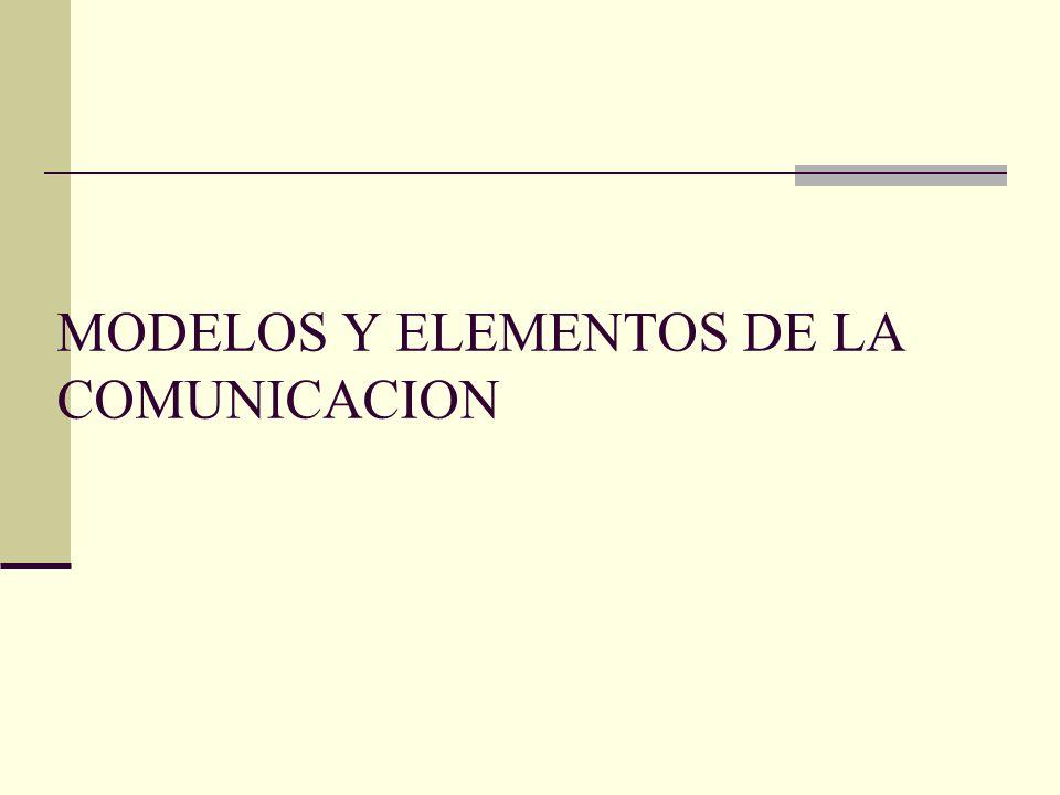 MODELOS Y ELEMENTOS DE LA COMUNICACION