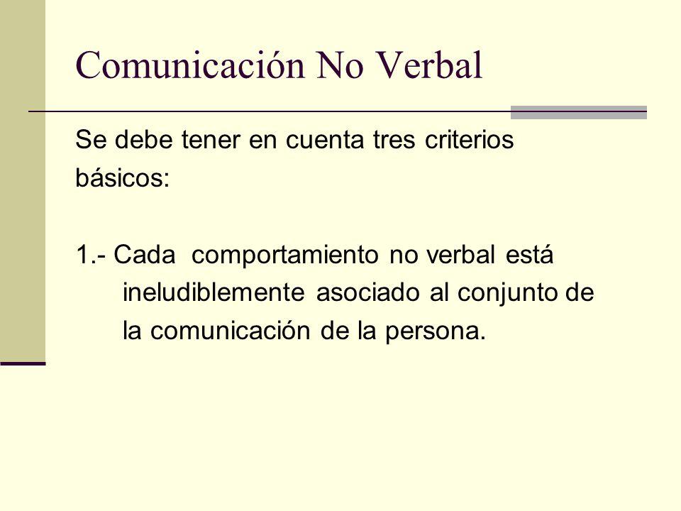Comunicación No Verbal Se debe tener en cuenta tres criterios básicos: 1.- Cada comportamiento no verbal está ineludiblemente asociado al conjunto de