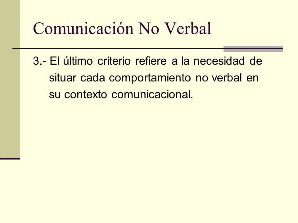 Comunicación No Verbal 3.- El último criterio refiere a la necesidad de situar cada comportamiento no verbal en su contexto comunicacional.