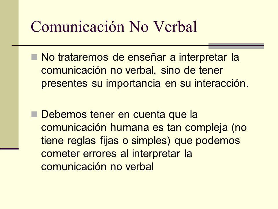 Comunicación No Verbal No trataremos de enseñar a interpretar la comunicación no verbal, sino de tener presentes su importancia en su interacción. Deb