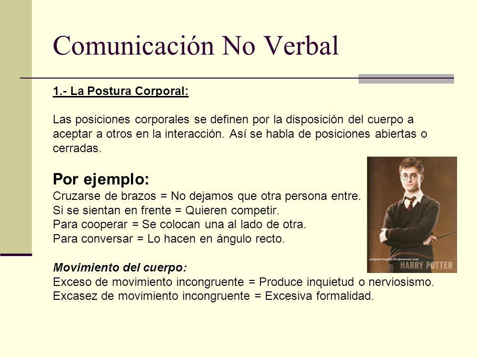 Comunicación No Verbal 1.- La Postura Corporal: Las posiciones corporales se definen por la disposición del cuerpo a aceptar a otros en la interacción