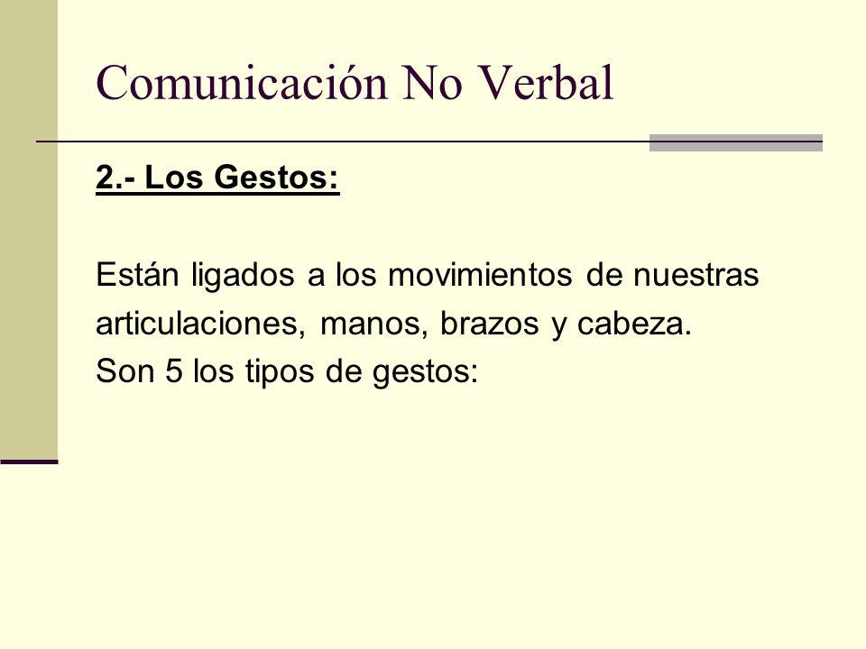 Comunicación No Verbal 2.- Los Gestos: Están ligados a los movimientos de nuestras articulaciones, manos, brazos y cabeza. Son 5 los tipos de gestos: