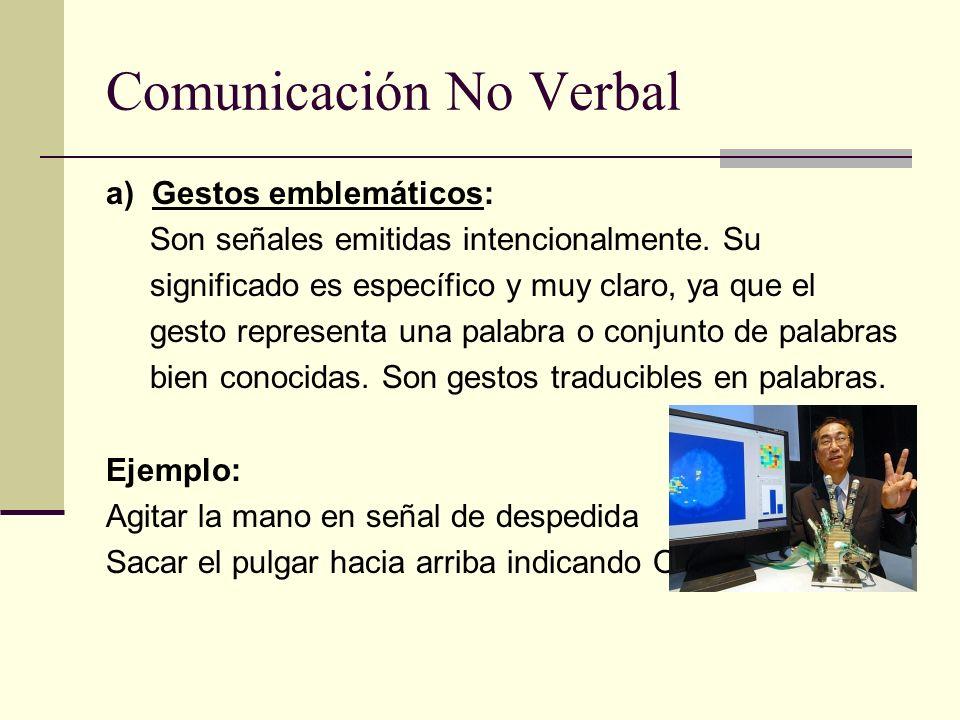 Comunicación No Verbal a) Gestos emblemáticos: Son señales emitidas intencionalmente. Su significado es específico y muy claro, ya que el gesto repres