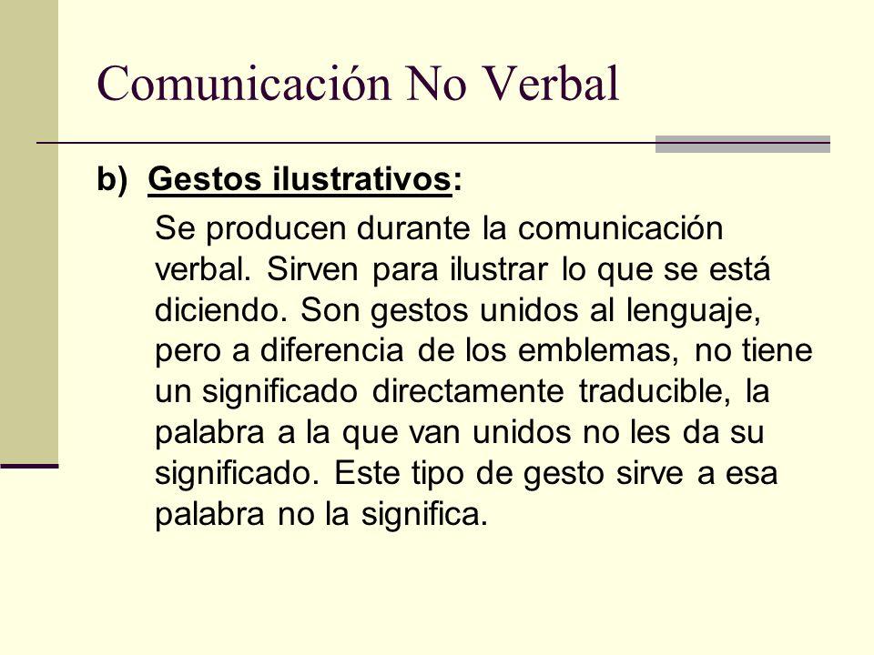 Comunicación No Verbal b) Gestos ilustrativos: Se producen durante la comunicación verbal. Sirven para ilustrar lo que se está diciendo. Son gestos un