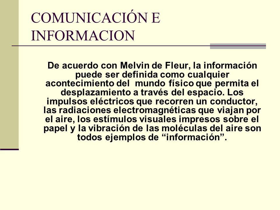 COMUNICACIÓN E INFORMACION De acuerdo con Melvin de Fleur, la información puede ser definida como cualquier acontecimiento del mundo físico que permit