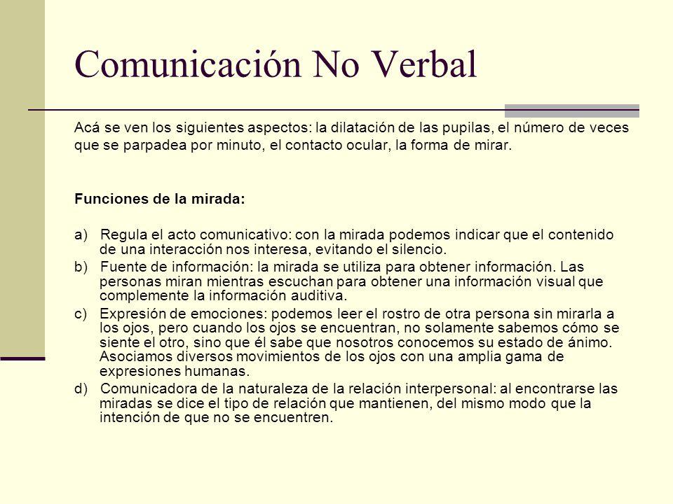 Comunicación No Verbal Acá se ven los siguientes aspectos: la dilatación de las pupilas, el número de veces que se parpadea por minuto, el contacto oc