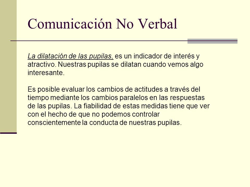 Comunicación No Verbal La dilatación de las pupilas, es un indicador de interés y atractivo. Nuestras pupilas se dilatan cuando vemos algo interesante