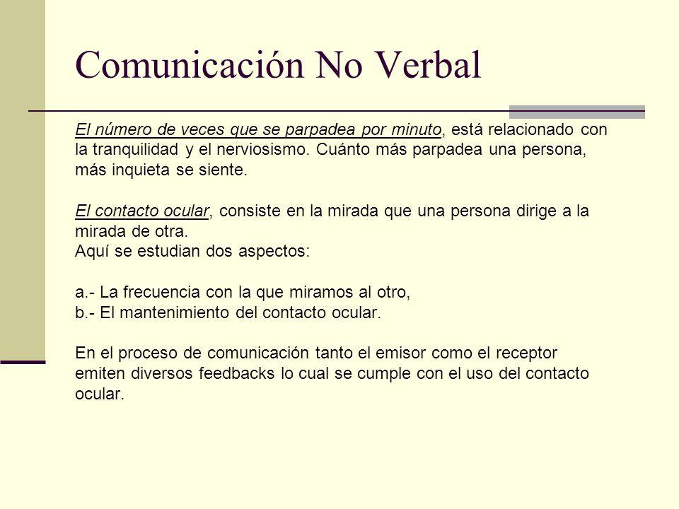Comunicación No Verbal El número de veces que se parpadea por minuto, está relacionado con la tranquilidad y el nerviosismo. Cuánto más parpadea una p