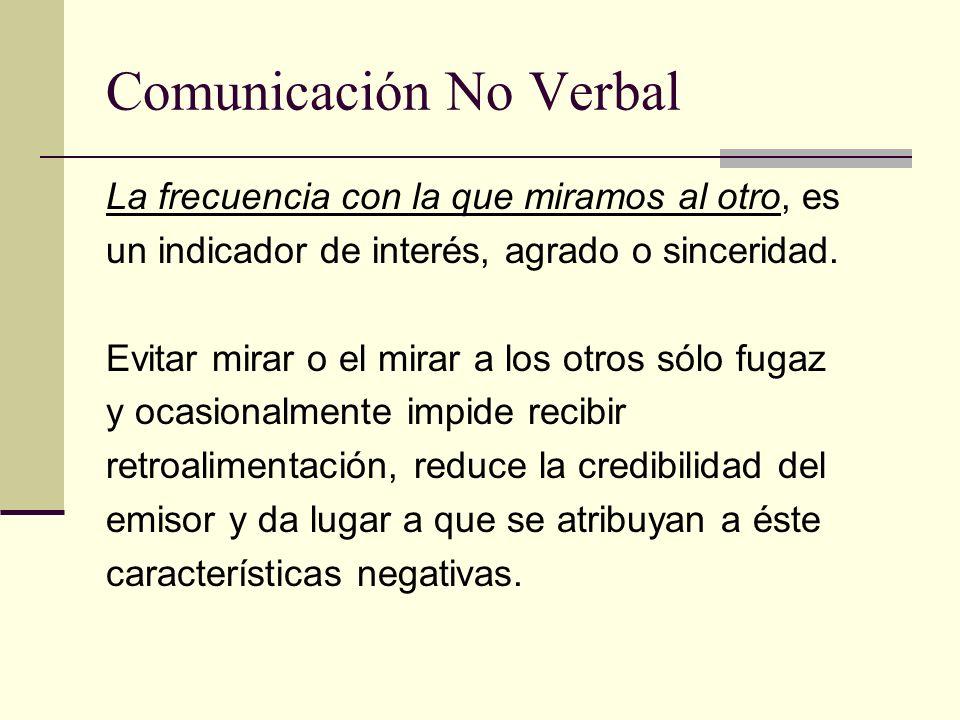 Comunicación No Verbal La frecuencia con la que miramos al otro, es un indicador de interés, agrado o sinceridad. Evitar mirar o el mirar a los otros