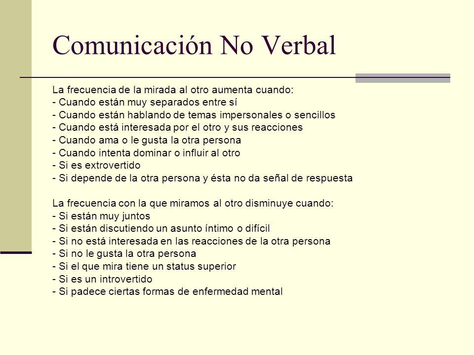 Comunicación No Verbal La frecuencia de la mirada al otro aumenta cuando: - Cuando están muy separados entre sí - Cuando están hablando de temas imper