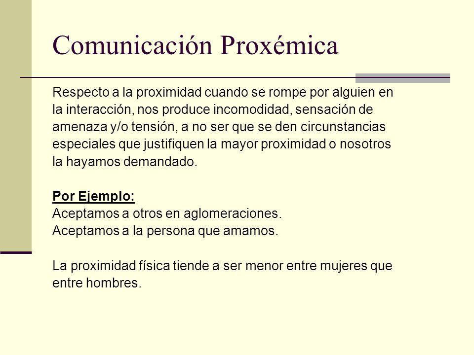 Comunicación Proxémica Respecto a la proximidad cuando se rompe por alguien en la interacción, nos produce incomodidad, sensación de amenaza y/o tensi