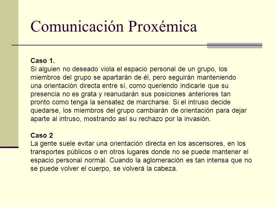 Comunicación Proxémica Caso 1. Si alguien no deseado viola el espacio personal de un grupo, los miembros del grupo se apartarán de él, pero seguirán m