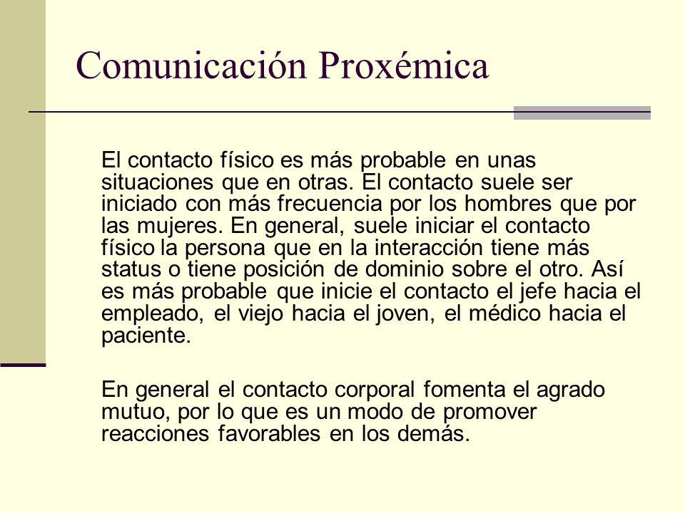 Comunicación Proxémica El contacto físico es más probable en unas situaciones que en otras. El contacto suele ser iniciado con más frecuencia por los