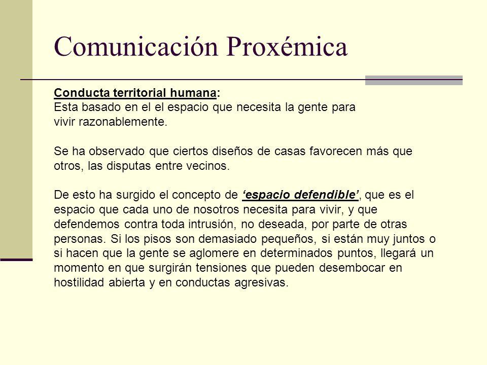 Comunicación Proxémica Conducta territorial humana: Esta basado en el el espacio que necesita la gente para vivir razonablemente. Se ha observado que