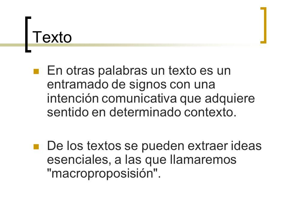 Texto En otras palabras un texto es un entramado de signos con una intención comunicativa que adquiere sentido en determinado contexto. De los textos