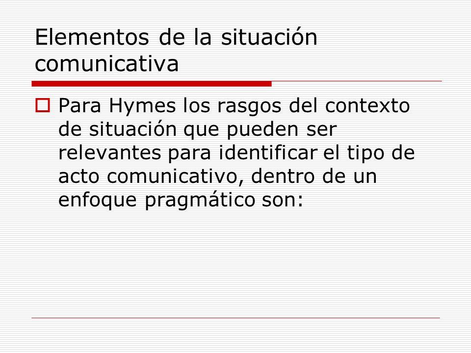 Elementos de la situación comunicativa Para Hymes los rasgos del contexto de situación que pueden ser relevantes para identificar el tipo de acto comu