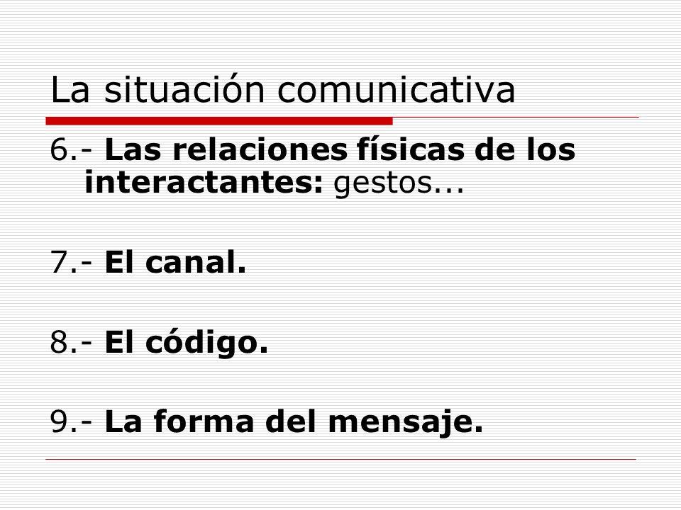 La situación comunicativa 6.- Las relaciones físicas de los interactantes: gestos... 7.- El canal. 8.- El código. 9.- La forma del mensaje.