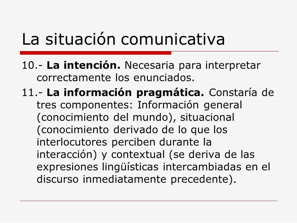 La situación comunicativa 10.- La intención. Necesaria para interpretar correctamente los enunciados. 11.- La información pragmática. Constaría de tre