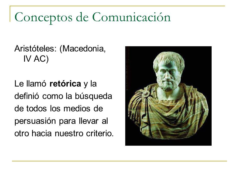 Conceptos de Comunicación Aristóteles: (Macedonia, IV AC) Le llamó retórica y la definió como la búsqueda de todos los medios de persuasión para lleva
