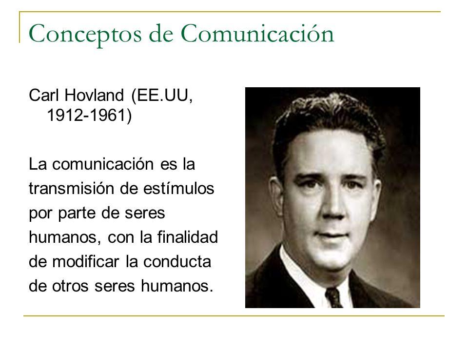 Conceptos de Comunicación Carl Hovland (EE.UU, 1912-1961) La comunicación es la transmisión de estímulos por parte de seres humanos, con la finalidad