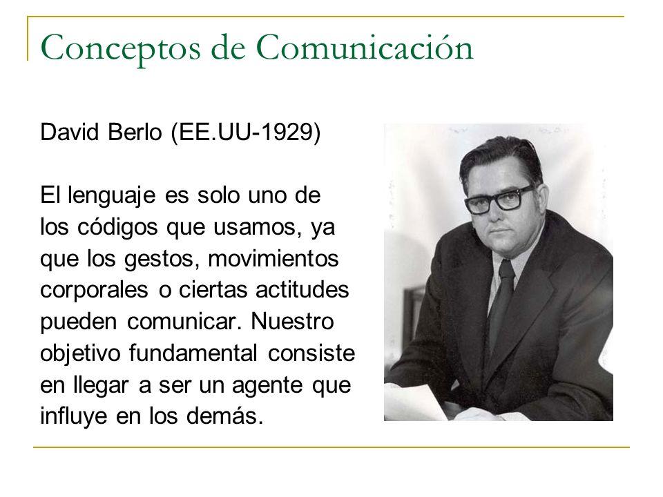 Conceptos de Comunicación David Berlo (EE.UU-1929) El lenguaje es solo uno de los códigos que usamos, ya que los gestos, movimientos corporales o cier