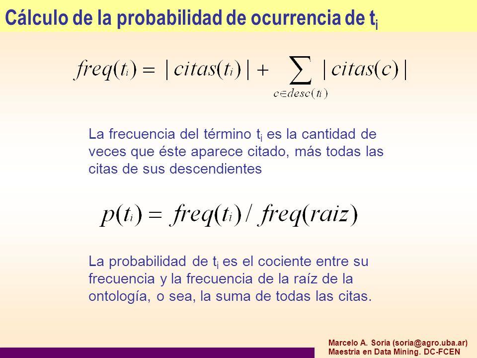 Marcelo A. Soria (soria@agro.uba.ar) Maestria en Data Mining. DC-FCEN Cálculo de la probabilidad de ocurrencia de t i La frecuencia del término t i es