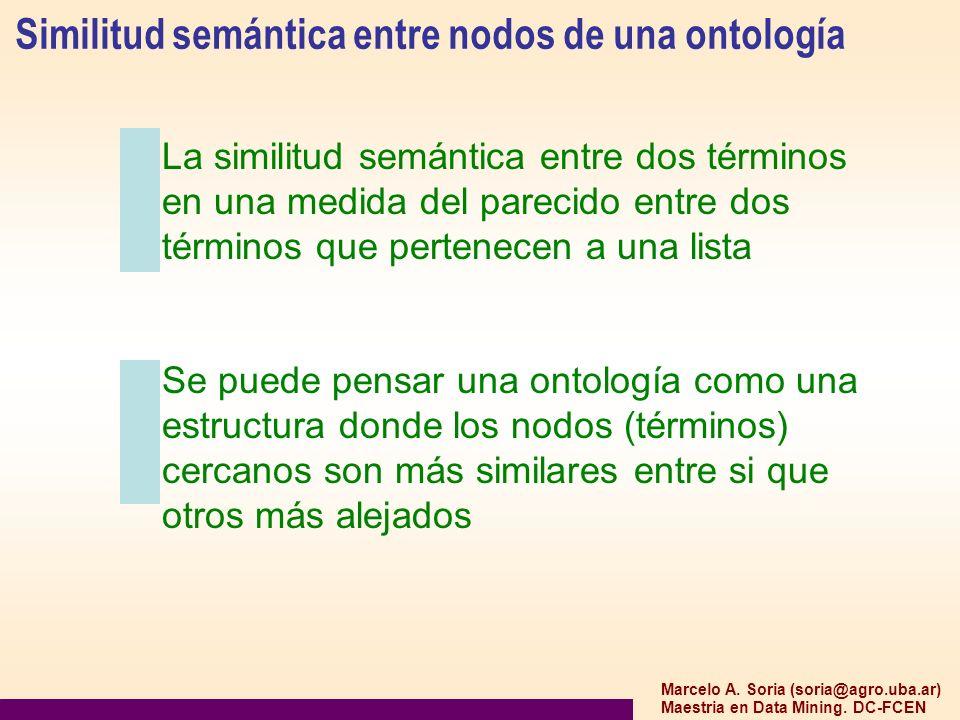 Marcelo A. Soria (soria@agro.uba.ar) Maestria en Data Mining. DC-FCEN Similitud semántica entre nodos de una ontología La similitud semántica entre do