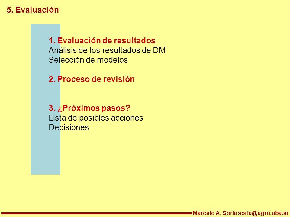 Marcelo A. Soria soria@agro.uba.ar 5. Evaluación 1. Evaluación de resultados Análisis de los resultados de DM Selección de modelos 2. Proceso de revis