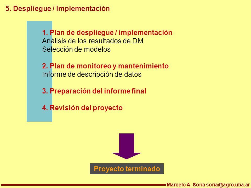 Marcelo A. Soria soria@agro.uba.ar 5. Despliegue / Implementación 1. Plan de despliegue / implementación Análisis de los resultados de DM Selección de