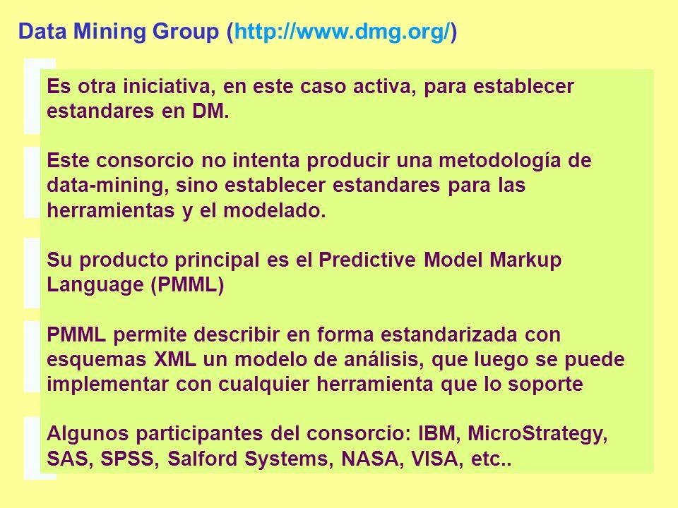 Data Mining Group (http://www.dmg.org/) Es otra iniciativa, en este caso activa, para establecer estandares en DM. Este consorcio no intenta producir
