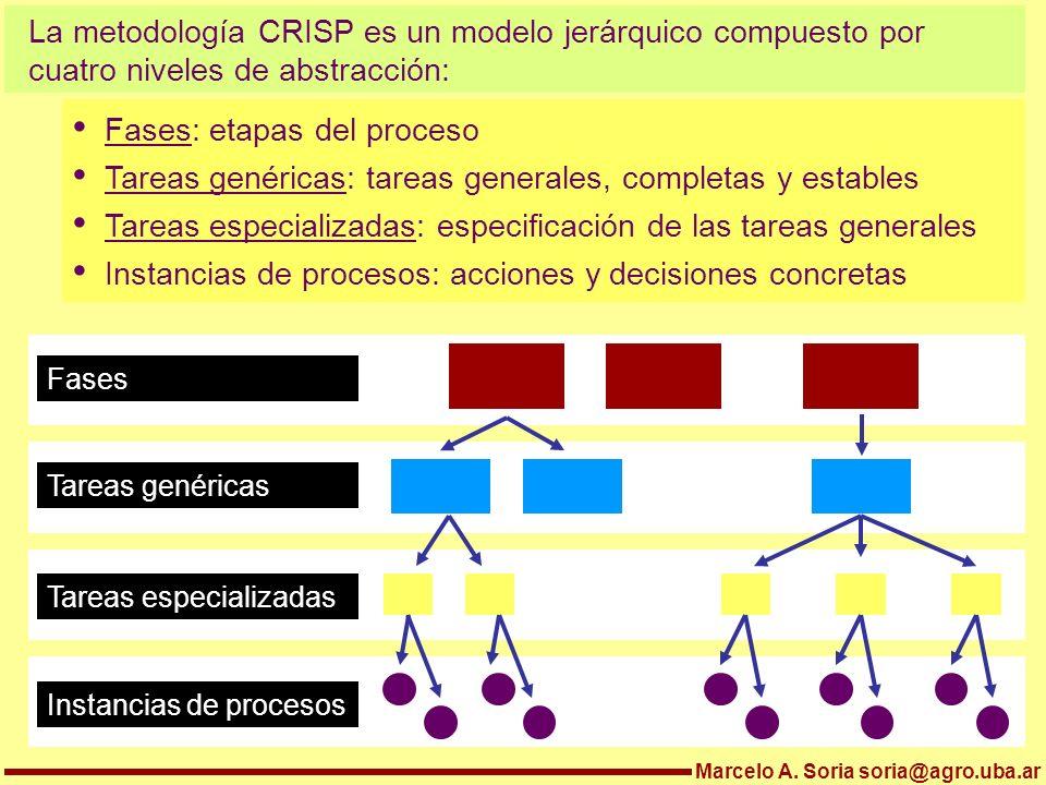 La metodología CRISP es un modelo jerárquico compuesto por cuatro niveles de abstracción: Marcelo A. Soria soria@agro.uba.ar Fases: etapas del proceso