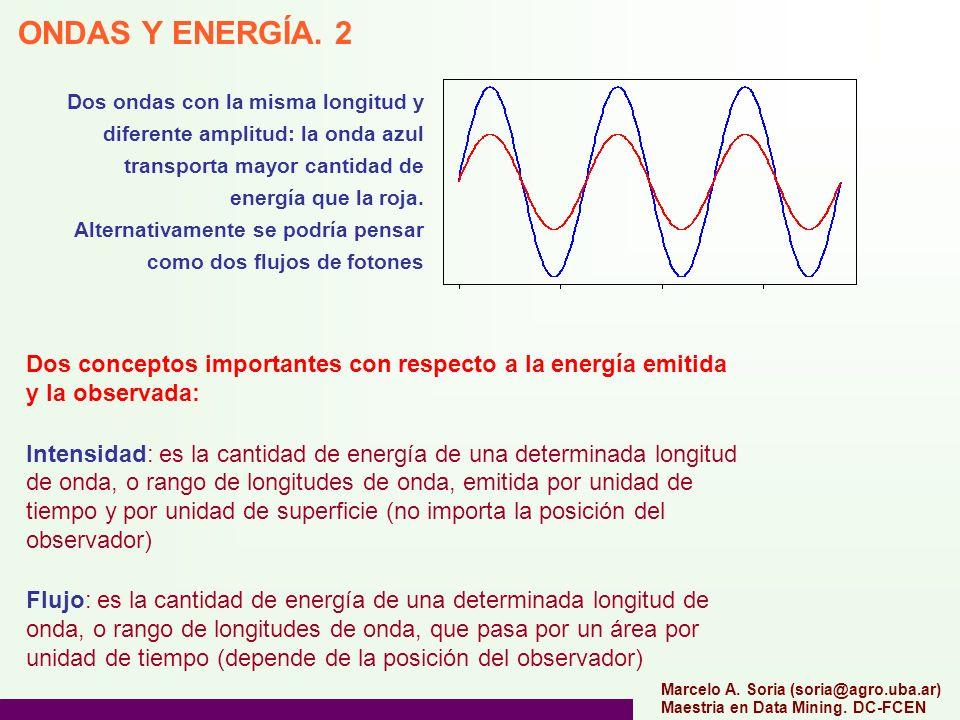 Dos ondas con la misma longitud y diferente amplitud: la onda azul transporta mayor cantidad de energía que la roja.